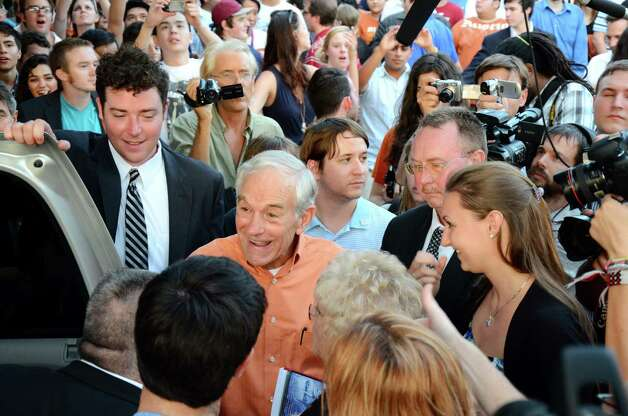 Ron Paul gets in his car after he speaks to his supporters at the University of Texas LBJ Library Lawn on Thursday April 26, 2012, in Austin. Photo: Rebeca Rodriguez, Associated Press / Rebeca Rodriguez