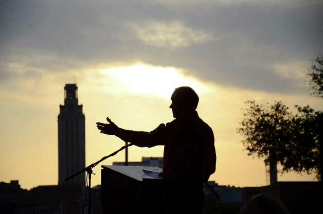 Ron Paul gives a speech to his supporters at the University of Texas at the LBJ Library Lawn on Thursday April 26, 2012, in Austin. Photo: Rebeca Rodriguez, Associated Press / Rebeca Rodriguez