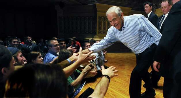 Republican presidential candidate Ron Paul, greets people after speaking at Soldier & Sailors Memorial Hall Friday night, April 20, 2012 in Pittsburgh, Pa. Photo: Bill Wade, Associated Press / Pittsburgh Post-Gazette