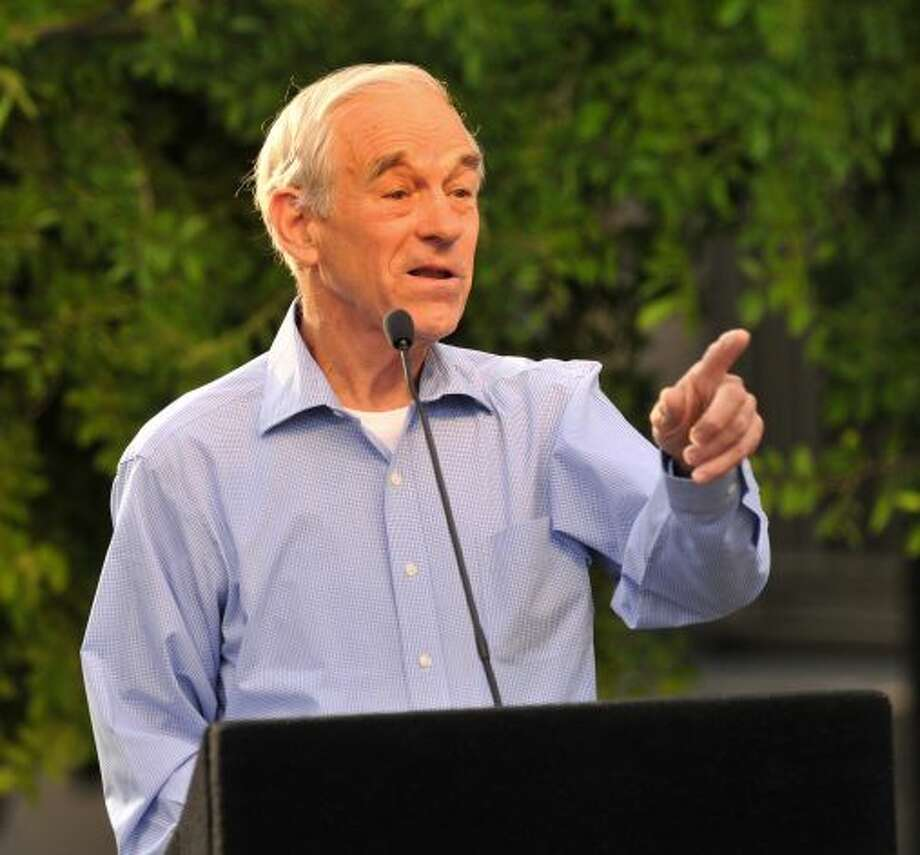 GOP presidential hopeful Ron Paul speaks during a town hall meeting in Main Plaza.