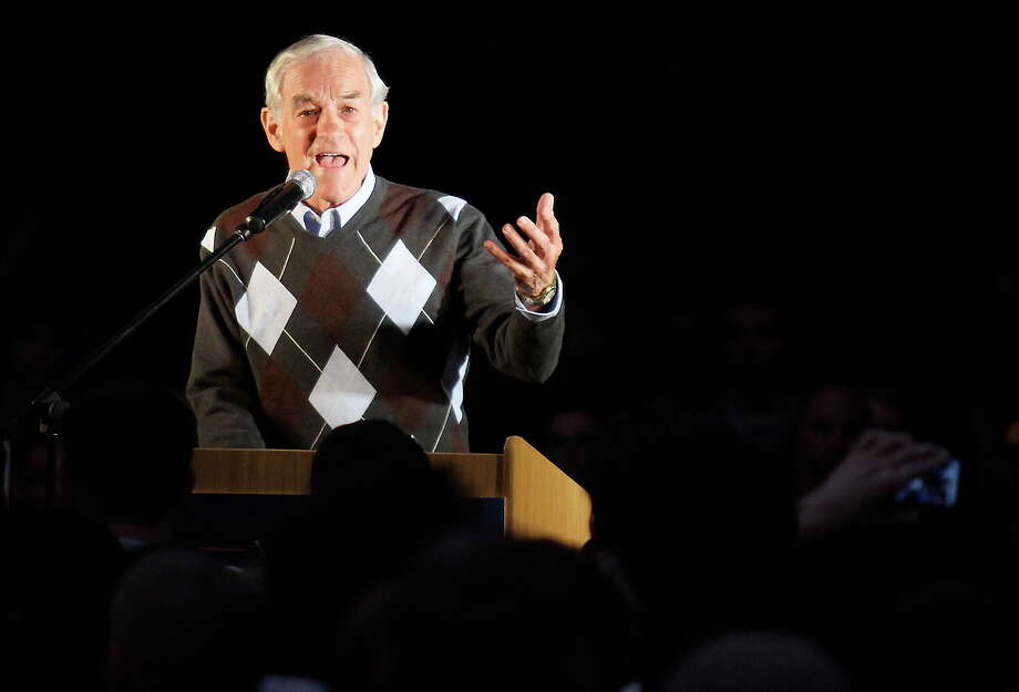 Ron Paul speaks to a crowd gathered in the free speech area at California State University Chico on Tuesday April 3, 2012. Photo: Bill Husa, Associated Press / Chico Enterprise-Record