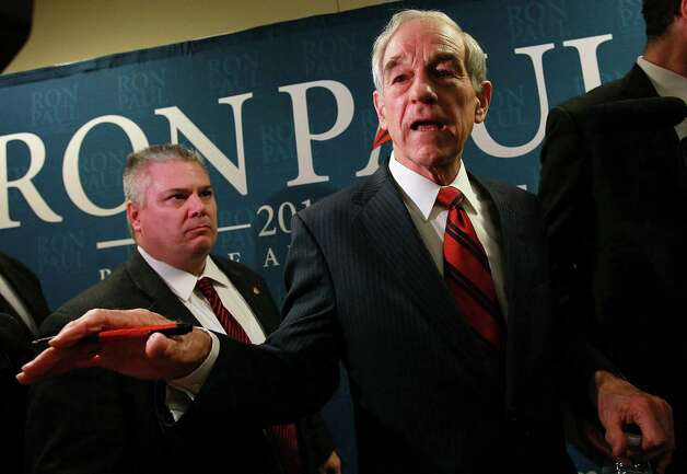 Ron Paul greets supporters during a town hall meeting at the Sioux Center Public Library on Dec. 30, 2011 in Sioux Center, Iowa. Photo: Justin Sullivan, Getty Images / 2011 Getty Images