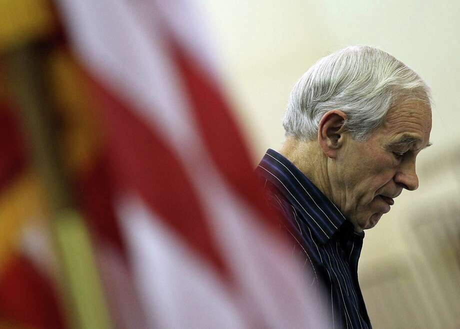 Ron Paul looks on during a Rock the Caucus event at Valley High School on Jan. 3, 2012 in West Des Moines, Iowa. Photo: Justin Sullivan, Getty Images / 2012 Getty Images