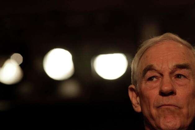 Ron Paul listens as the media asks a question at a rally to launch his campaign for the Nevada caucus, Wednesday February 1, 2012, at the Four Season Hotel in Las Vegas, Nevada. Photo: Lacy Atkins, The Chronicle / ONLINE_YES