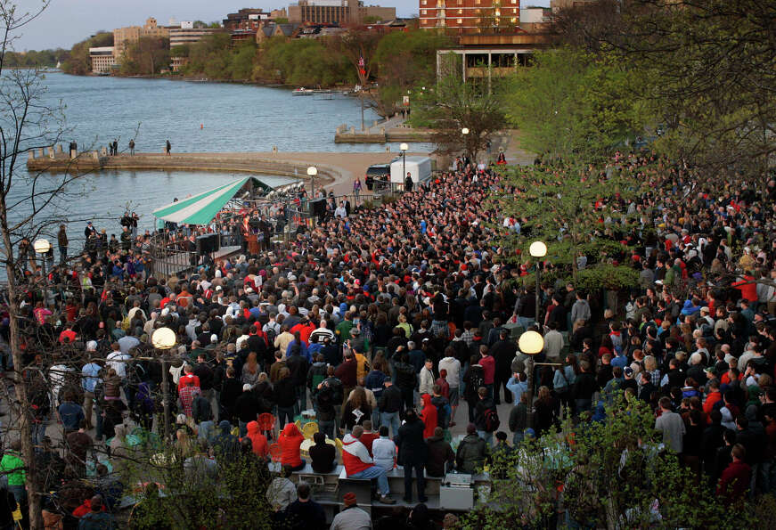 A crowd gathers at Memorial Union on the University of Wisconsin campus in Madison, Wis., for a spee