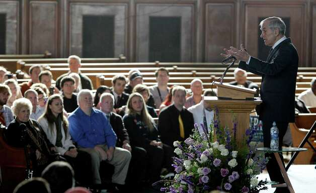 Ron Paul speaks at the Little Rock Baptist Church in Detroit, Monday, Feb. 27, 2012. Photo: Carlos Osorio, Associated Press / AP