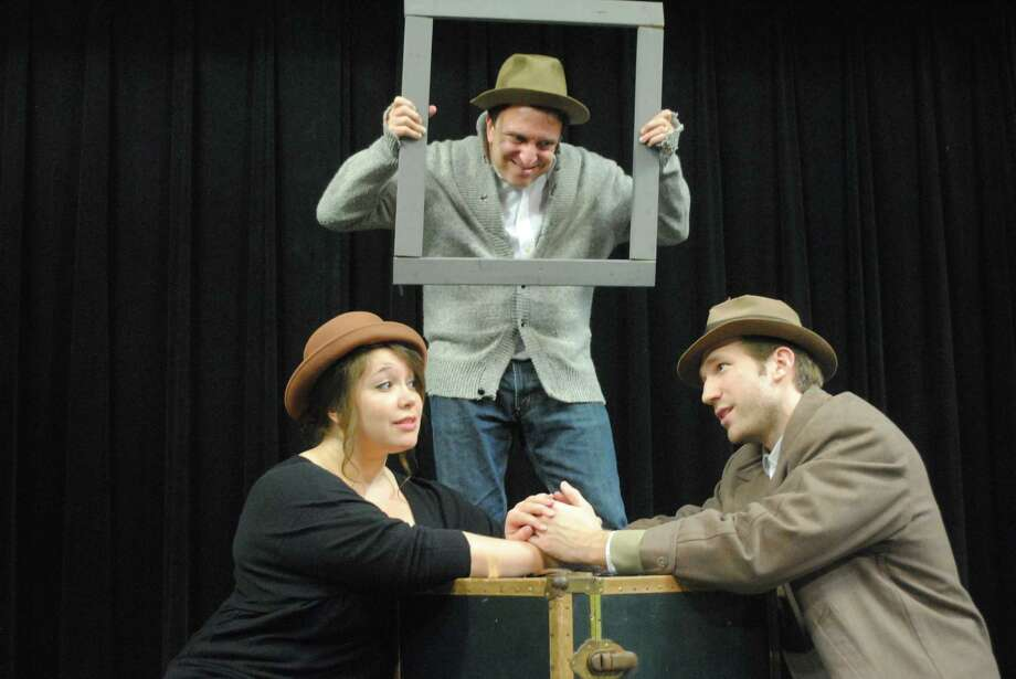 """Desiree Chappelle (from left), Scott Leibowitz and Lex Simpson play a multitude of characters — and inanimate objects — in """"The 39 Steps."""" Photo: Courtesy, Dylan Brainard"""