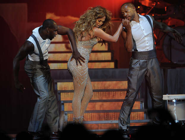 No, this isn't a malfunction, but part of Jennifer Lopez' routine during her show in Berlin, Germany on Oct. 13, 2012. Photo: TIM BRAKEMEIER, AFP/Getty Images / 2012 AFP