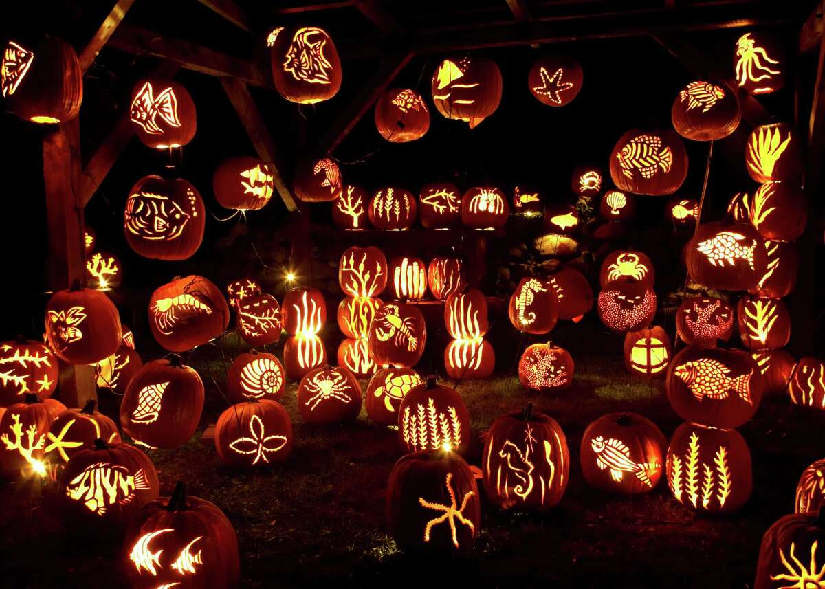 In an undated handout photo, an underwater-themed display of carved pumpkins at Historic Hudson Valley's Great Jack O'Lantern Blaze. In several Northeastern towns, Halloween-themed attractions abound. (Matt Gillis via The New York Times) -- NO SALES; FOR EDITORIAL USE ONLY WITH STORY SLUGGED NORTHEAST HALLOWEEN BY STEPHANIE ROSENBLOOM. ALL OTHER USE PROHIBITED. -- PHOTO MOVED IN ADVANCE AND NOT FOR USE - ONLINE OR IN PRINT - BEFORE OCT. 21, 2012.