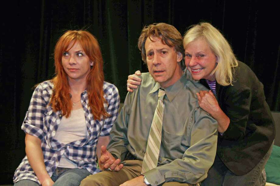 "Rehearsing for ""An Other Engagement"" are, L to R, Julie O'Neill, Joe Rinaldi, and Carolyn Marble. THe play will be one of seven plays appearing each night in the Theatre Artists Workshop annual Playwriting Festival, Oct. 19, 20 and 21. Photo: Contributed Photo"