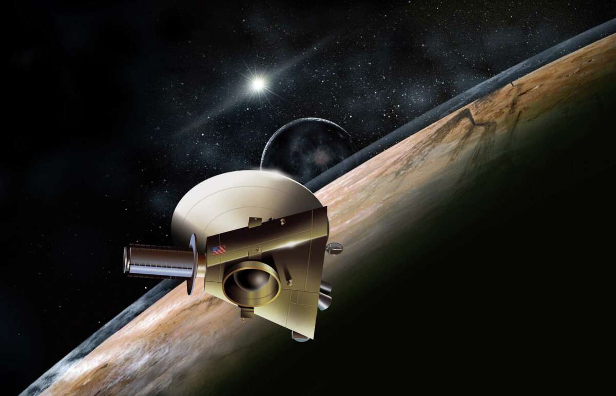 An artist's rendition of New Horizon's pass by Pluto.