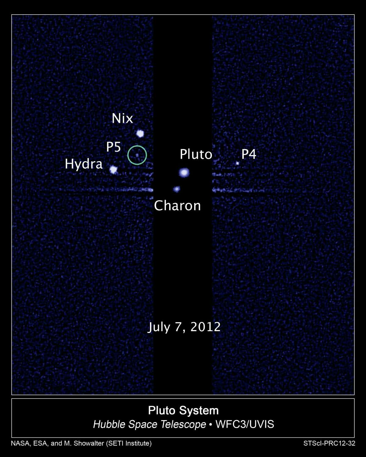 An image of Pluto and its moons.