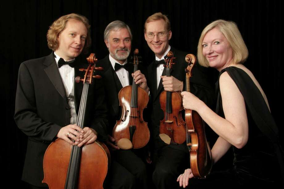 Cellist Wolfram Koessel, violist Daniel Avshalomov and violinists Peter Winograd and Laurie Carney, violin will perform as part of the Stamford-based Treetops Chamber Music Society 2012-13 season. The quartet, along with clarinetist Oskar Espina-Ruiz, who also is the artistic director for Treetops CMS, will perform at Curtain Call's Kweskin Theatre at 1349 Newfield Ave., Stamford, Conn. The concert will be at 4 p.m., Sunday, Oct. 21, 2012. For more information about tickets, visit www.treetopscms.org or curtaincallinc.com. Contributed photo/Peter Schaaf Photo: Contributed Photo