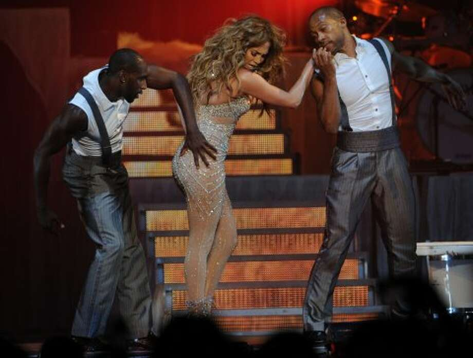 No, this isn't a malfunction, but part of Jennifer Lopez' routine during her show in Berlin, Germany on Oct. 13, 2012.  (AFP/Getty Images)