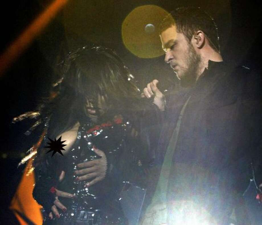 The first-ever wardrobe malfunction, born in Houston at the 2004 Super Bowl, turned 10 this year. And here's where it all began, with JT ripping a breast cover thingie off Janet Jackson at a Super Bowl performance and exposing a pasty-covered breast.