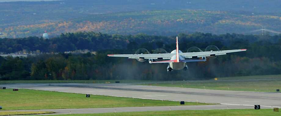 An  LC-130 takes off as part of the 109th Airlift Wing's annual support mission for the National Science Foundation flight to Antarctica at the Stratton Air National Guard Base in Scotia, N.Y. Oct 16, 2012.       (Skip Dickstein/Times Union) Photo: Skip Dickstein / 00019679A