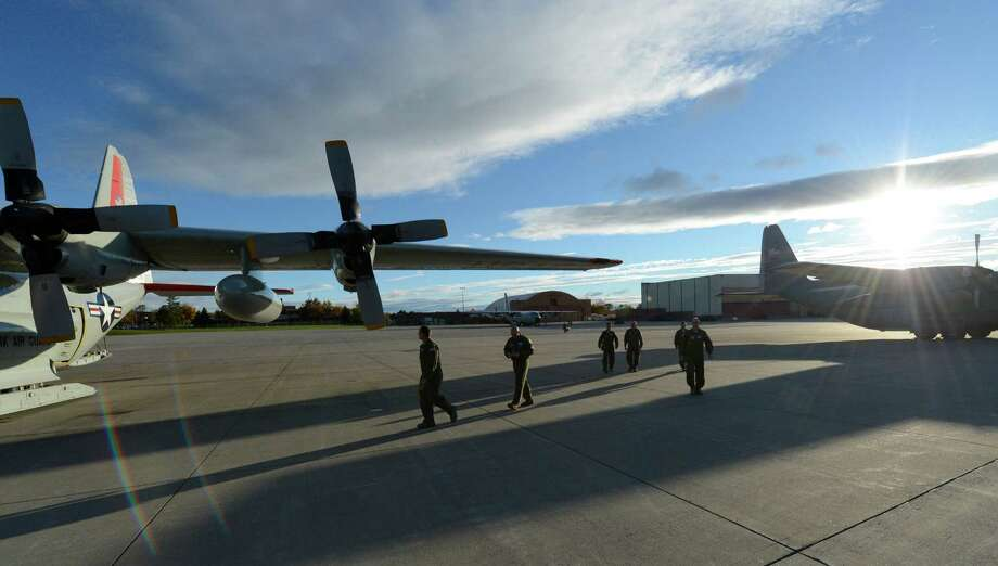 Members of the 109th Airlift Wing prepare for the annual support mission for the National Science Foundation flight to Antarctica at the Stratton Air National Guard Base in Scotia, N.Y. Oct 16, 2012.       (Skip Dickstein/Times Union) Photo: Skip Dickstein / 00019679A