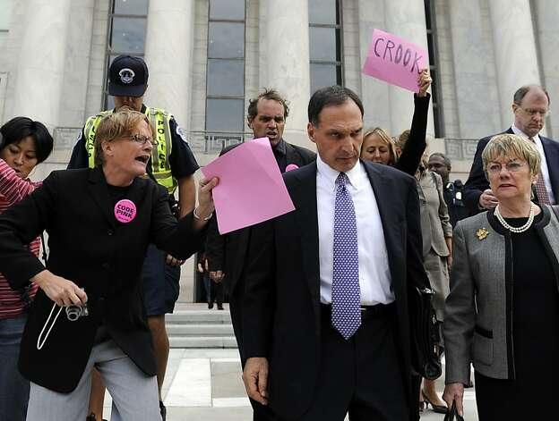 Richard Fuld, former Lehman Bros. CEO, was heckled by protesters on Capitol Hill in 2008. He's now at the center of a legal action by San Mateo County. Photo: Susan Walsh, AP