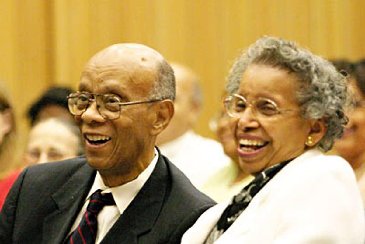 Former Trinity University urban studies professor Earl Lewis and his wife Hazelyn Lewis attend the 2004 Earl Lewis Symposium on urban affairs. Photo courtesy Trinity University.