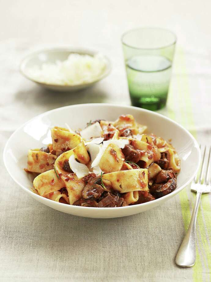 Redbook recipe for Pappardelle With Mushroom-Beef Ragu. Photo: Ellen Silverman