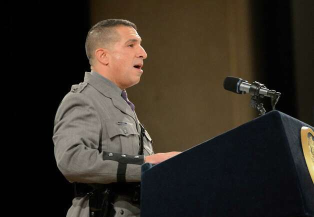 Superintendent Joe D'Amico speaks to Class 198 of the New York State Police today at the New York State Police Graduation at the Empire State Plaza Convention Center in Albany, N.Y. Oct 16, 2012.       (Skip Dickstein/Times Union) Photo: Skip Dickstein / 00019675A