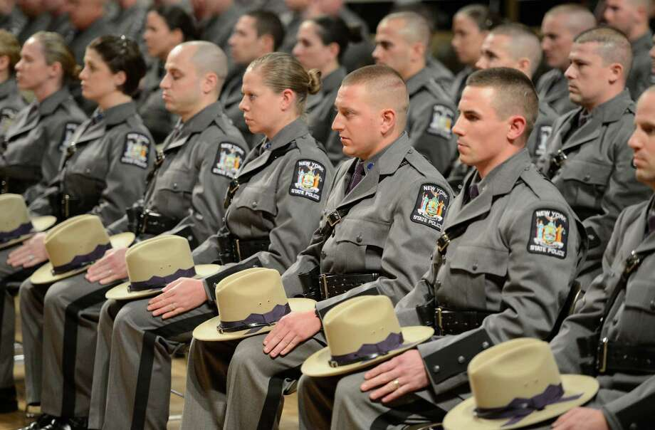 Members of the Class 198 of the New York State Police today at the New York State Police Graduation at the Empire State Plaza Convention Center in Albany, N.Y. Oct 16, 2012.       (Skip Dickstein/Times Union) Photo: Skip Dickstein / 00019675A