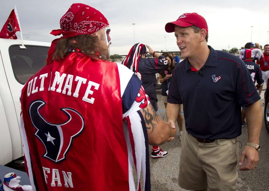 """PHOTOS: Players from Houston high schools and Texas college drafted in 2019  Texans president Jamey Rootes shakes hands with the self-proclaimed """"ultimate fan"""" of the Texans. (Brett Coomer / Chronicle)  >>>A look at players who were taken in the 2019 NFL Draft that went to Houston high schools or Texas colleges ..."""