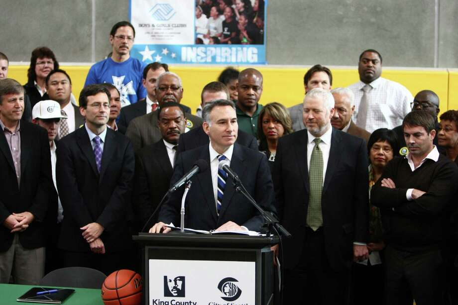 King County Executive Dow Constantine speaks before signing a law approving financing of a proposed NBA and NHL arena in Seattle's Sodo neighborhood. Photo: JOSHUA TRUJILLO / SEATTLEPI.COM