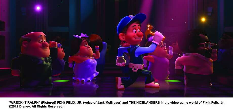 The sunny Fix-It Felix, cheerily voiced by Jack McBrayer, lives to serve by cleaning up Ralph's messes. Photo: Disney
