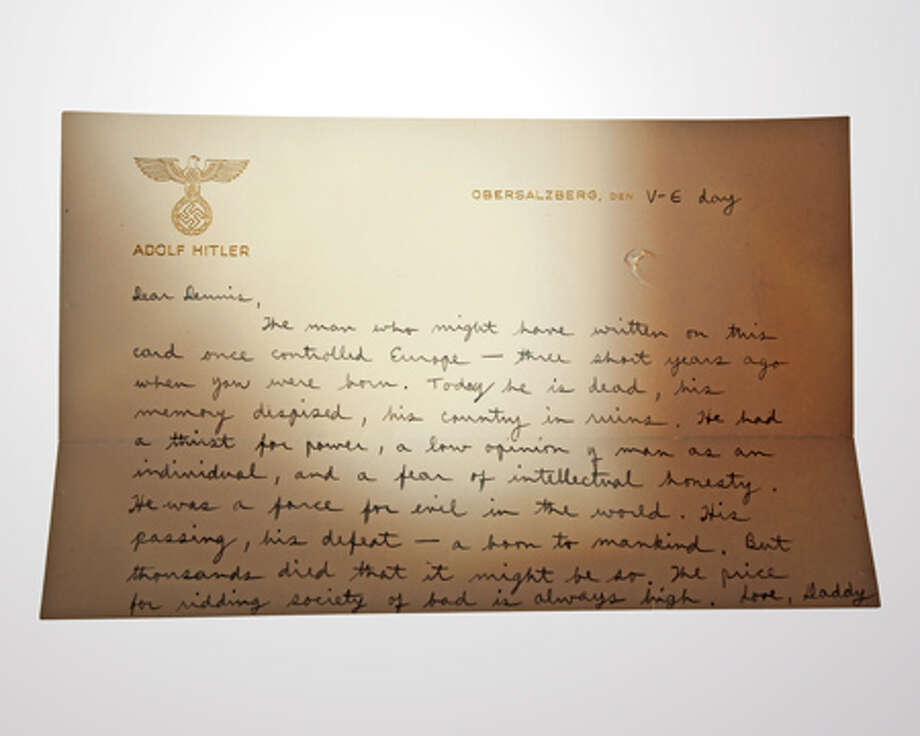 Richard Helms, an officer with the U.S. Office of Strategic Services, wrote this letter to his young son on a captured sheet of Adolf Hitler's personal stationery on V-E (Victory in Europe) Day, May 8, 1945. Helms would later become Director of Central Intelligence and, after refusing President Richard Nixon's request for him to resign, agreed to become U.S. ambassador to Iran. Photo: Central Intelligence Agency