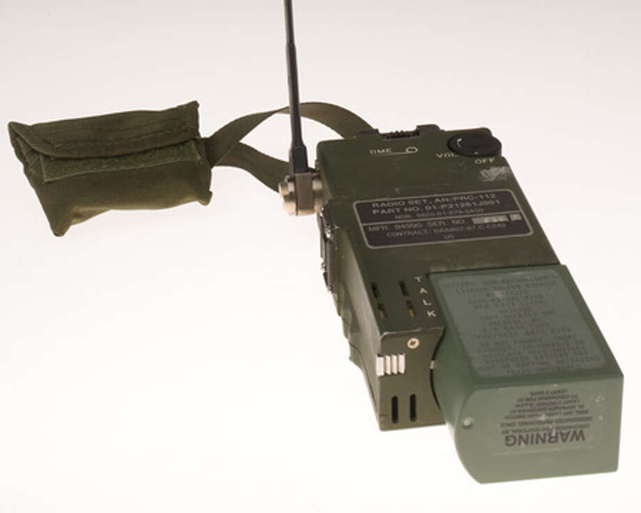 The PRC-112B1 is a hand-held survival radio providing line-of-sight voice, text and data communications. A Global Positioning System receiver, also allows it to transmit the user's location. This unit was used as a survival radio during CIA operations in Afghanistan. Photo: Central Intelligence Agency