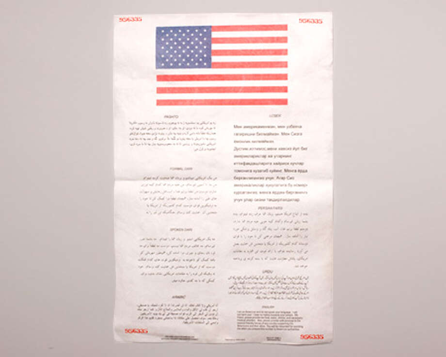This blood chit is made of waterproof Tyvek for use in Afghanistan. Photo: Central Intelligence Agency