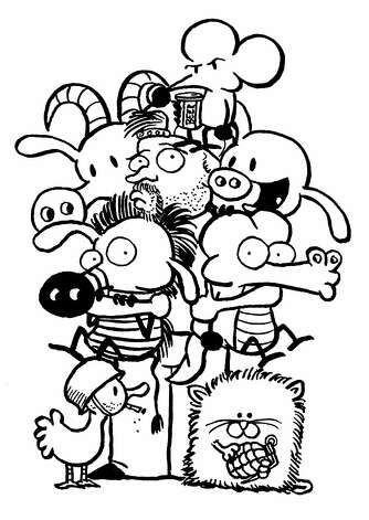 A self-portrait of Stephan Pastis with the gang from his strip, which runs in over 650 newspapers. Photo: Courtesy Stephan Pastis