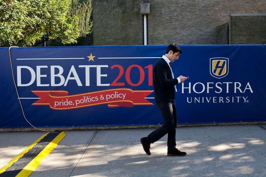 Preparations are underway at Hofstra University in Hempstead, N.Y. for a 2012 presidential town hall debate.