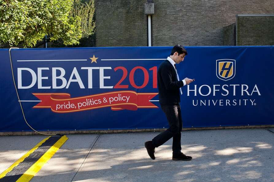 Preparations are underway at Hofstra University in Hempstead, N.Y. for a 2012 presidential town hall