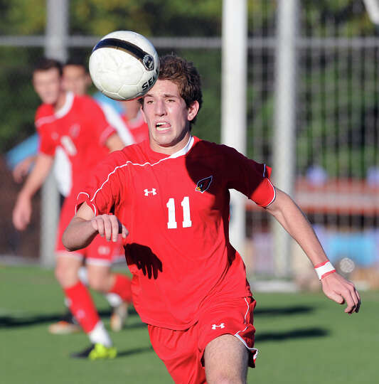 Aidan Rafferty # 11 of Greenwich during the boys high school soccer match between Stamford High Scho