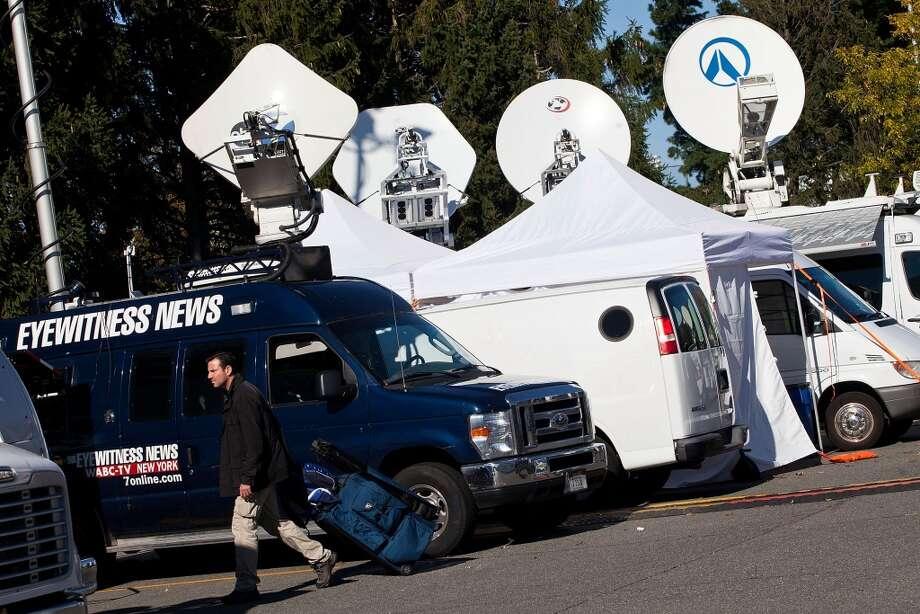 Preparations are underway at Hofstra University in Hempstead, N.Y. for a 2012 presidential town hall debate.