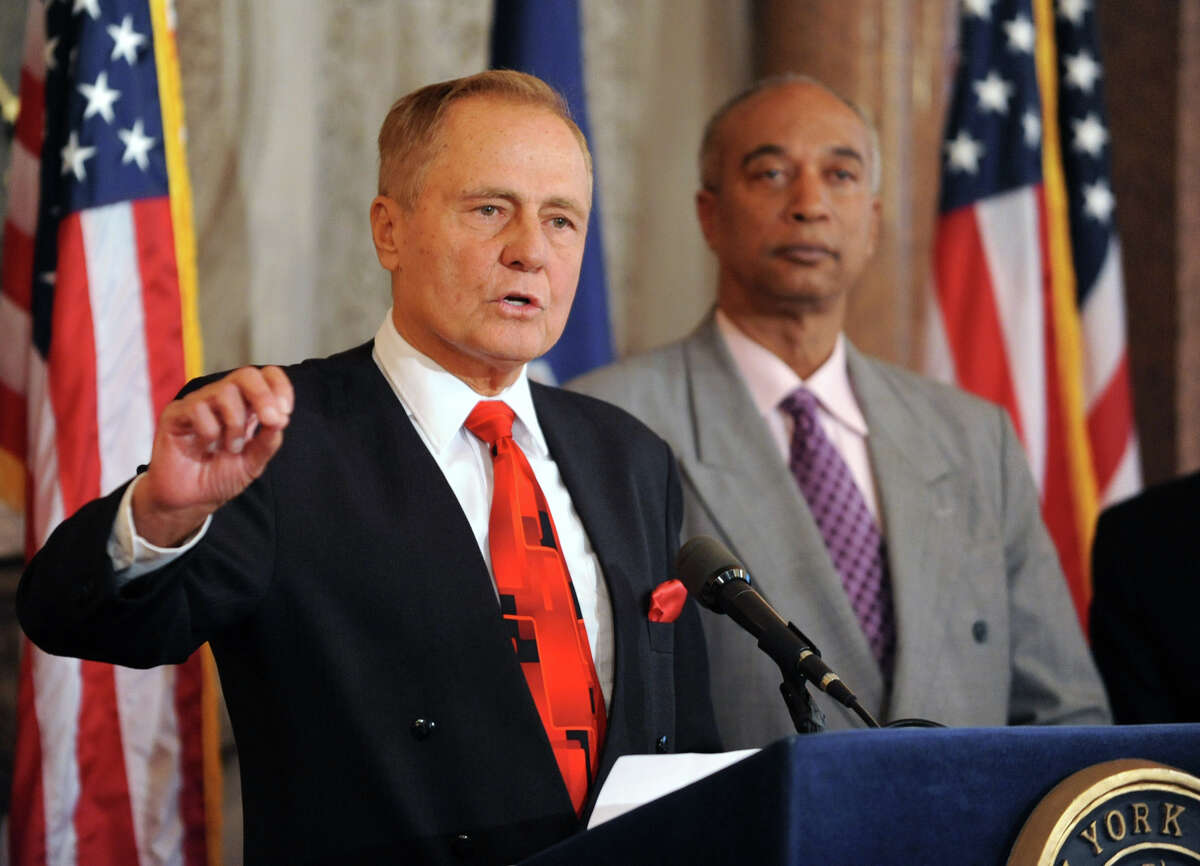 New York Senator John Bonacic speaks during a press conference at the Capitol Tuesday, Oct. 16, 2012 in Albany, N.Y. The leaders released a report commissioned by the New York Horse Racing and Agriculture Industry Alliance on the economic impact of the Equine industry in NYS. (Lori Van Buren / Times Union)