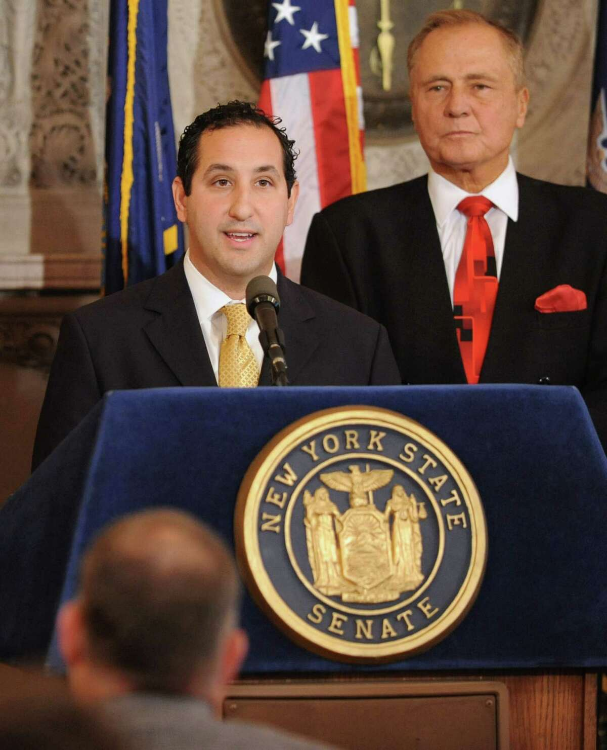 Jeffrey Cannizzo of the New York Thoroughbred Breeders speaks during a press conference at the Capitol Tuesday, Oct. 16, 2012 in Albany, N.Y. The leaders released a report commissioned by the New York Horse Racing and Agriculture Industry Alliance on the economic impact of the Equine industry in NYS. New York Senator John Bonacic stands behind him. (Lori Van Buren / Times Union)