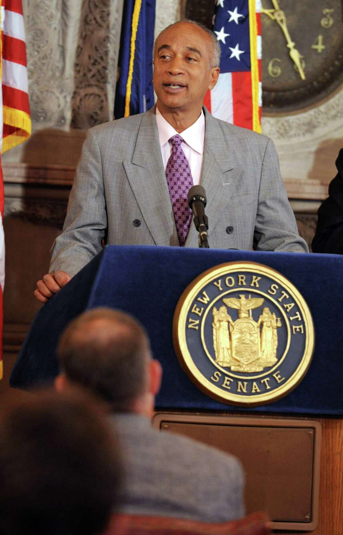 New York Assemblyman Gary Pretlow speaks during a press conference at the Capitol Tuesday, Oct. 16, 2012 in Albany, N.Y. The leaders released a report commissioned by the New York Horse Racing and Agriculture Industry Alliance on the economic impact of the Equine industry in NYS. (Lori Van Buren / Times Union)