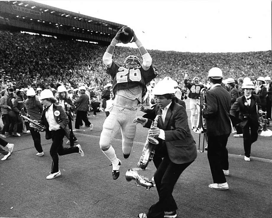 Kevin Moen broke through Stanford's kickoff team and band to score the winning TD, but despite his coach's wishes, wasn't Cal's Player of the Year. Photo: Robert Stinnett, © 1982 By Robert Stinnett