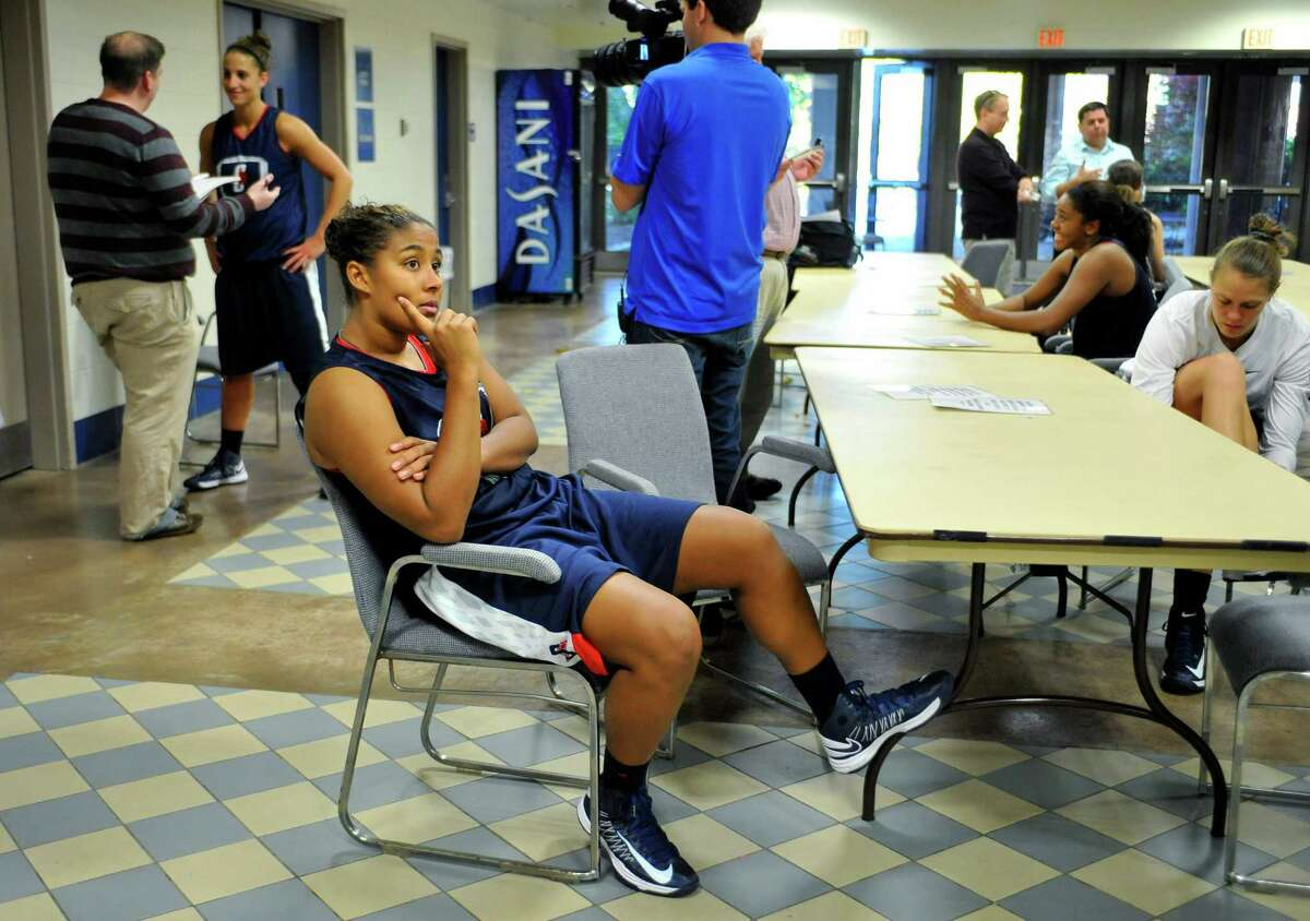 Connecticut's Kaleena Mosqueda-Lewis waits to be interviewed during their NCAA college basketball media day in Storrs, Conn., Tuesday, Oct. 16, 2012. (AP Photo/Jessica Hill)