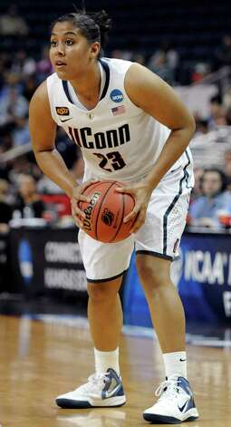 Connecticut's Kaleena Mosqueda-Lewis looks to pass during the first half of an NCAA tournament second-round college basketball game against Kansas State in Bridgeport, Conn., Monday, March 19, 2012. (AP Photo/Jessica Hill) Photo: Jessica Hill, Associated Press / AP2012