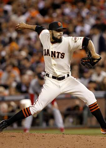 Sergio Romo in action in the 9th inning. The San Francisco Giants defeated the St. Louis Cardinals 7-1 Monday October 15, 2012 at AT&T park in the second game of the League Championship. Photo: Brant Ward, The Chronicle
