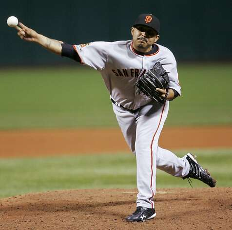 Sergio Romo made his big-league debut with the Giants in 2008. He went 3-1 with a 2.12 ERA that year. Photo: Tony Dejak, AP