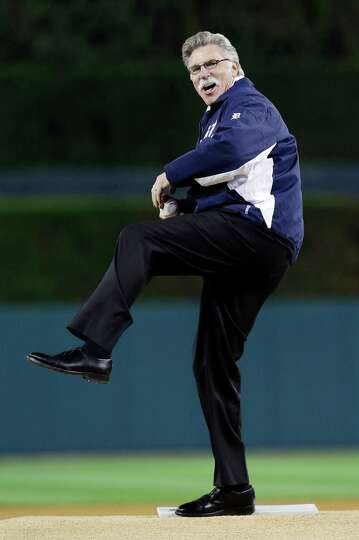 Former Detroit Tigers pitcher Jack Morris throws out the ceremonial first pitch before Game 3 of the