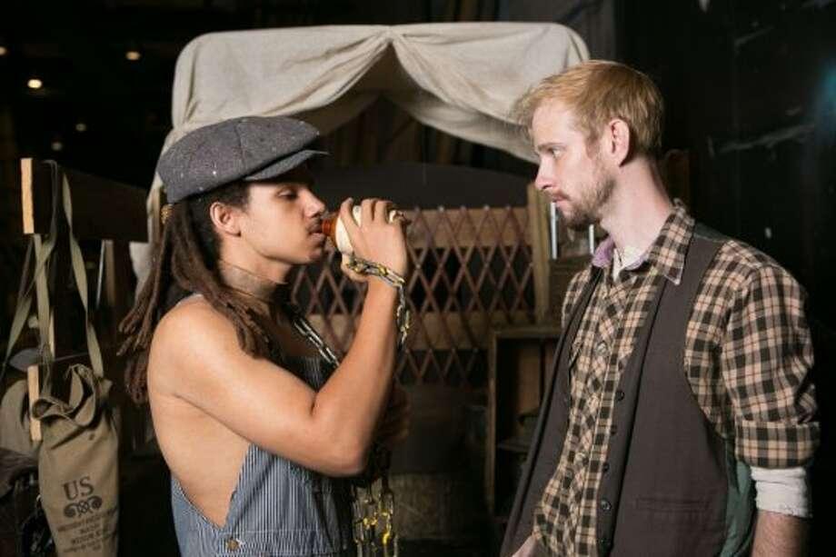 Mateo Mpinduzi-Mott as Eilif (left), Josh Hoppe as Chaplain