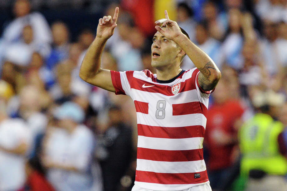 United States forward Clint Dempsey celebrates after scoring against Guatemala during the first half of a World Cup qualifying soccer match in Kansas City, Kan., Tuesday, Oct. 16, 2012. (AP Photo/Reed Hoffmann) Photo: Reed Hoffmann / FR48783 AP