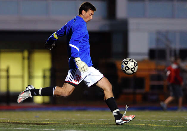 Fairfield Ludlowe goalie Ryan Arrigo, during boys soccer action against Staples in Fairfield, Conn. on Tuesday October 16, 2012. Photo: Christian Abraham / Connecticut Post