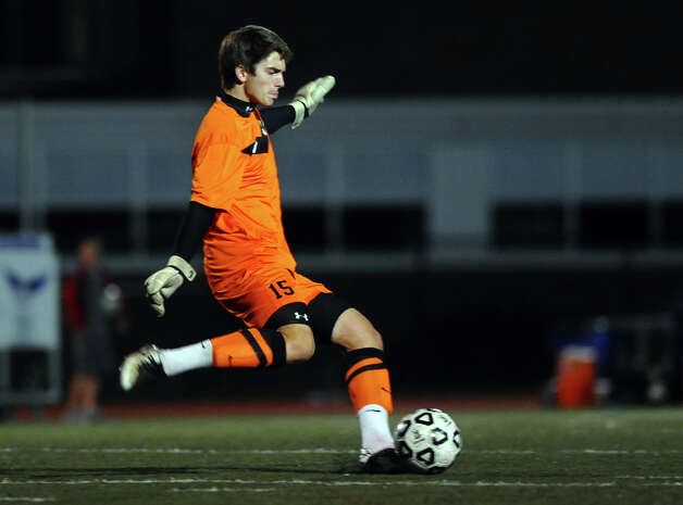 Staples goalie James Hickok, during boys soccer action against Fairfield Ludlowe in Fairfield, Conn. on Tuesday October 16, 2012. Photo: Christian Abraham / Connecticut Post